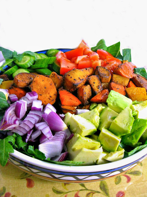 Roasted Sweet Potato Cobb Salad with Walden Farm's Honey Dijon Salad Dressing