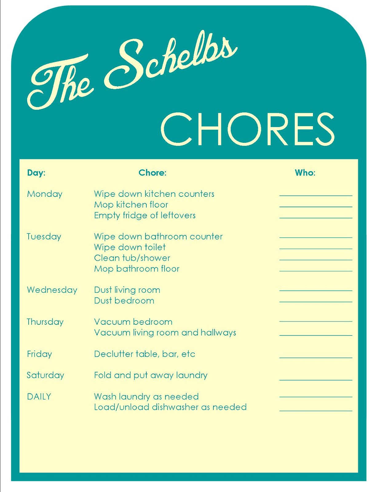 the schelbs chore chart. Black Bedroom Furniture Sets. Home Design Ideas