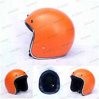 Helm Half Face/Cafe RacerRetro/model bogo Orange Belanda