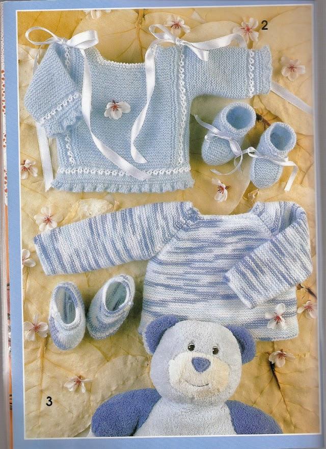 Casaquinho e Sapatinho-Tricô Bebe Azul