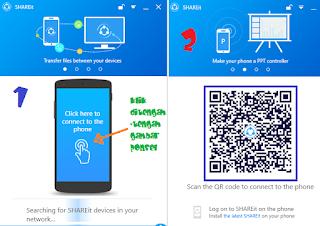 Gambar 4 Cara Menghubungkan SHAREit dari Smartphone ke PC
