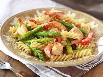 Lemongrass asparagus and shrimp pasta recipe on SeasonWithSpice.com