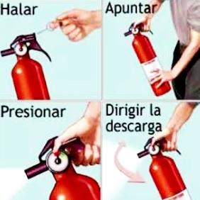 Imagen de como usar un extintor en caso de incendio