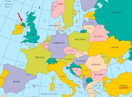 Kuzey İrlanda Harita. Avrupa'da Kuzey irlanda