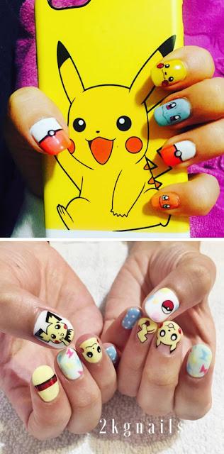 nail art melukis kuku dengan karakter pokemon go