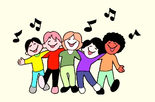 gambar kartun anak bernyanyi bersama