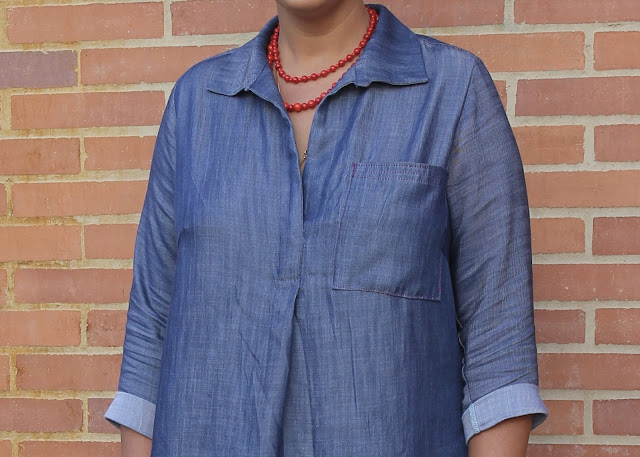 Close-up of a denim tunic made from the Liesl and Co. Gallery Tunic sewing pattern.