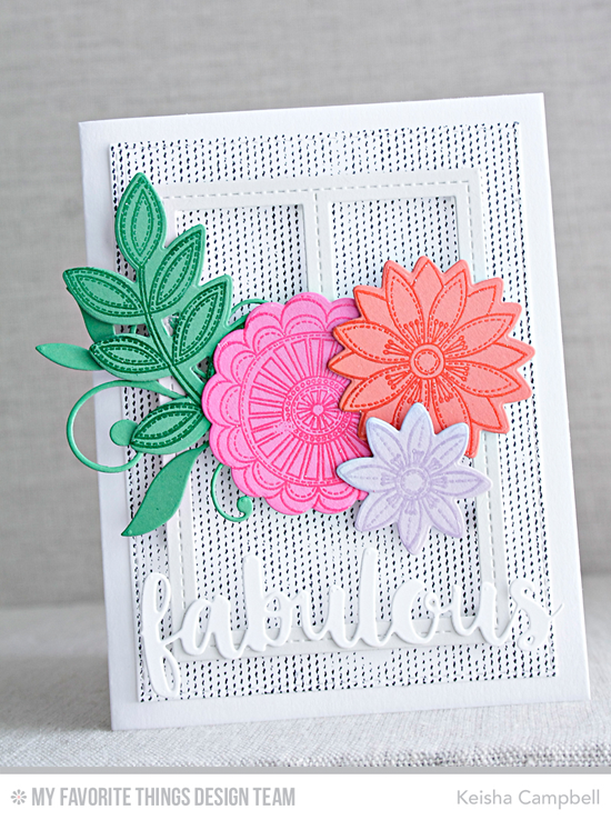 Handmade card from Keisha Campbell featuring Funky Flowers stamp set and Die-namics and Blueprints 29 Die-namics #mftstamps
