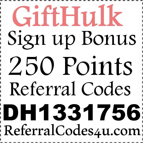 GiftHulk Invite Codes 2016-2021, GiftHulk.com Referral Codes, GiftHulk Promo Codes