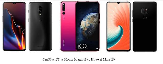 OnePlus 6T vs Honor Magic 2 vs Huawei Mate 20: Perbandingan Spesifikasi dan Harga