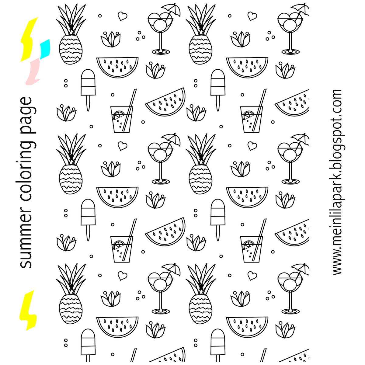 today ive drawn a free printable summer coloring page for you pineapples water melons sundaes popsicles exotic blossoms and lemonade glasses cover the - Printable Popsicle Coloring Pages