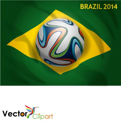 Brazuca sobre bandera Brasil 2014 - Vector