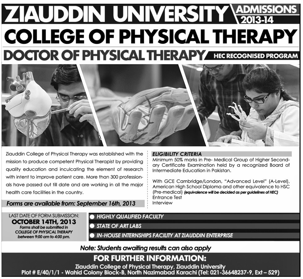 College for physical therapy - Ziauddin University College Of Physical Therapy Nazimabad Karachi Admissions