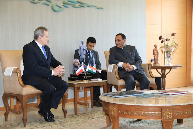 Hon'ble Deputy Prime Minister of Poland, Mr. Piotr Glinski with Shri Vijay Rupani, Hon. Chief Minister of Gujarat