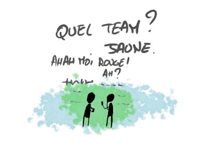 Kyopé et l'inconnu discute de leur équipe et d'autre choses. Kyopé est de l'équipe jaune.