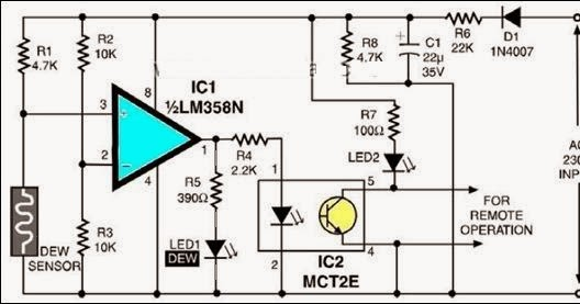 Electronics Projects: Tiny Dew Sensor Circuit Diagram