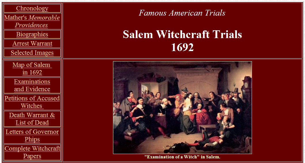 an assessment of the salem witchcraft trials Name -- directions: go to answer the questions below as you explore the site you can work together on this assignment, but each student must hand in a completed worksheet.