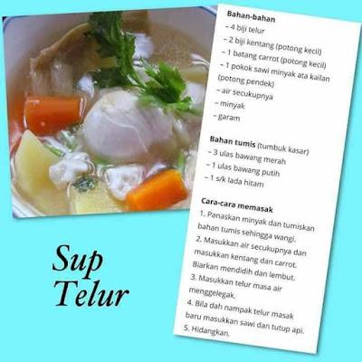 Sup Telur, Resepi Sup Telur, Resepi Masakan, Masakan Ringkas, Menu Bersahur, Menu Berbuka Puasa,