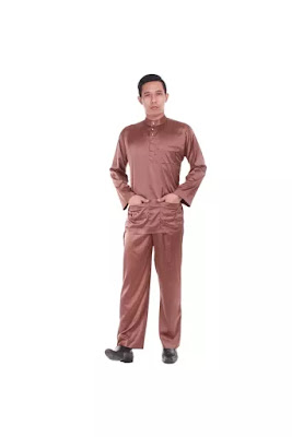 brown slim fit baju melayu