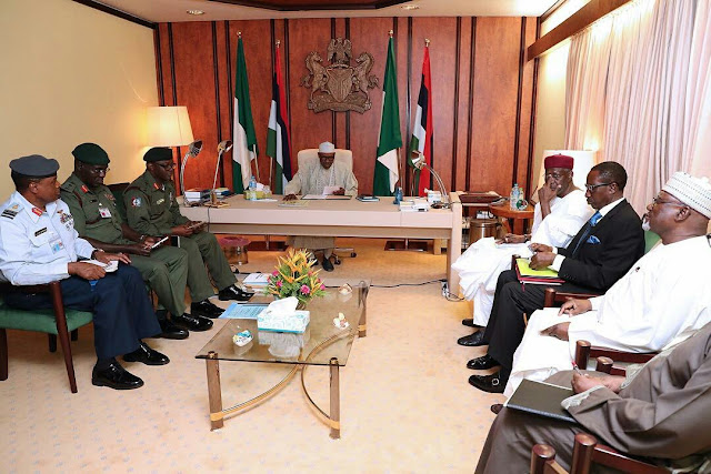President Buhari meets with all service chiefs and heads of other security agencies