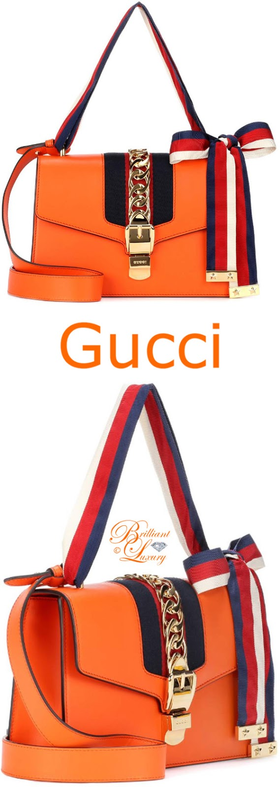 Brilliant Luxury ♦ Gucci Sylvie leather shoulder bag #orange