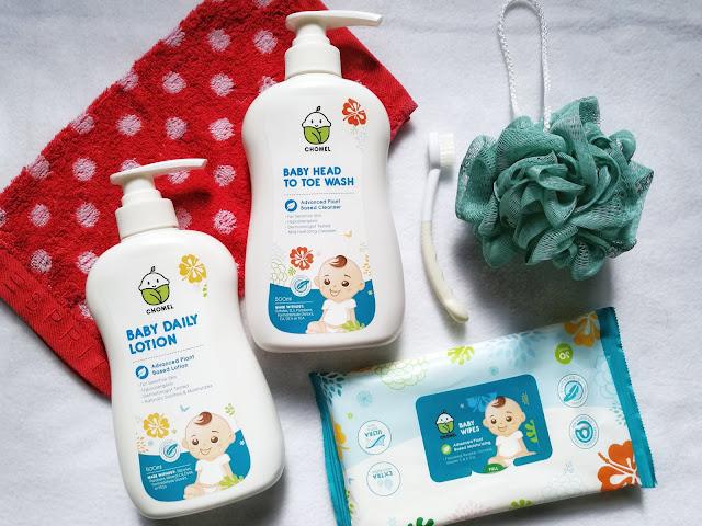 chomel baby daily lotion head to toe shower wash wet tissue no sls natural no paraben