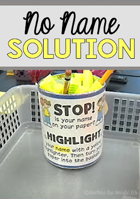 Pinterest Tip for Non Name Papers: This works amazingly well! Start this at the beginning of the school year and eliminate those no-name papers!