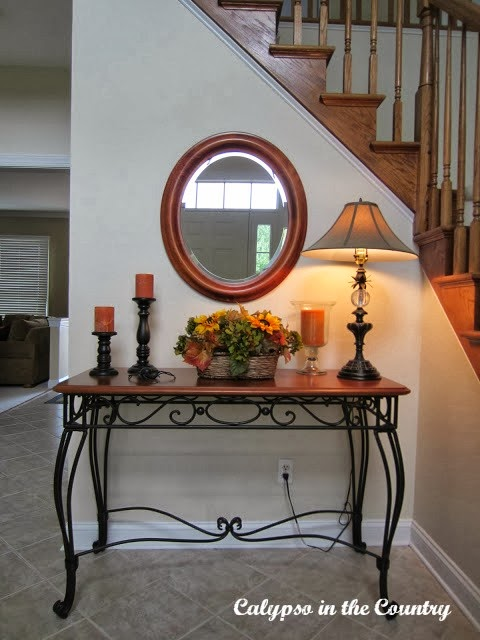 Simple fall decor in the foyer