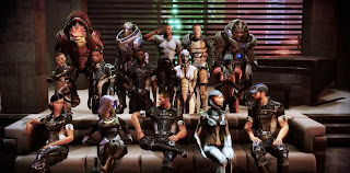 "Shepard and squad mates: Garrus Vakarian (turian sniper); Wrex and Grunt (krogan warriors); Tali vas Normandy (quarian engineer); EDI (artificial intelligence and sex-bot); Liara T'soni the Shadow Broker and Samara the Justicar (sexy asari biotics); Steve Cortez, Samantha Traynor, James Vega, Jacob Taylor, Jack or ""Subject Zero', Miranda Lawson played by Yvonne Strahovski from Chuck, Jeff 'Joker' Moreau played by Seth Green, Zaeed Masani (all human),"