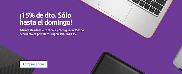 15% portátiles HP Store Agosto 2017