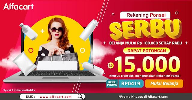 #Alfacart - #Prmo SERBU Belanja Setiap Rabu Dapatkan Potongan 15K Pakai Rek Ponsel