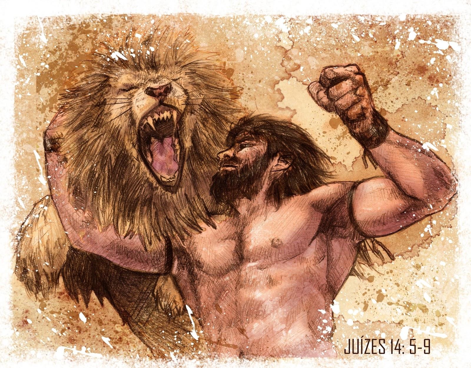 Sansão lutando com um Leão