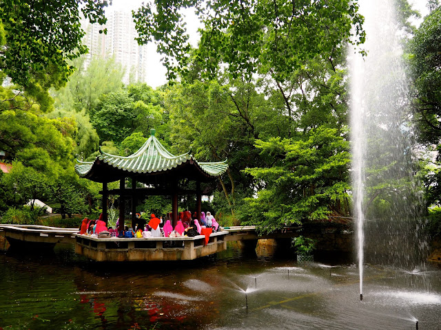 Chinese pavilion and fountain inside Kowloon Park, TST, Hong Kong