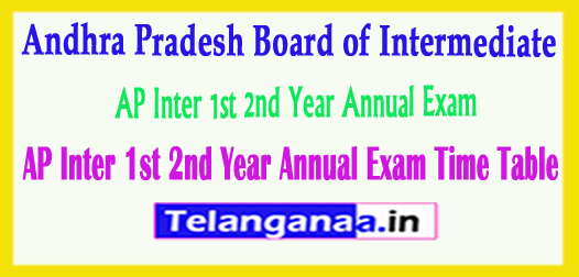 AP Inter 1st 2nd Year Annual Exam Time Table 2018