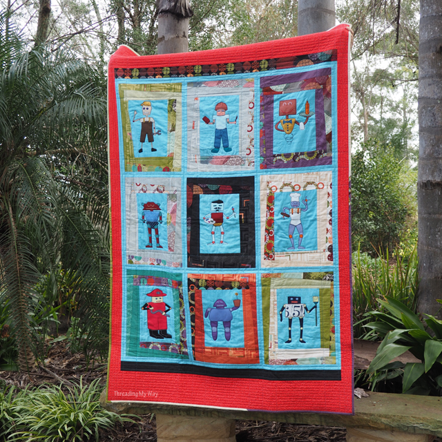 Make a robot quilt for a young boy. Download the nine free robot appliqué templates to make your own robot quilt. Tutorial by Threading My Way
