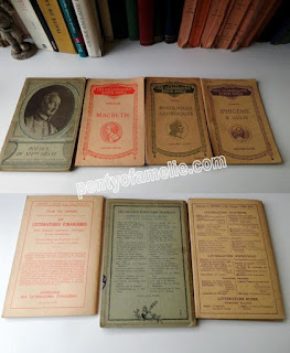 Back to school Period. Four Vintage Classical Books, Hatier and Hachette Literature like Macbeth by Shakespeare  English version