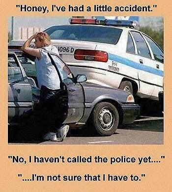 Funny Wife Police Car Accident Meme Joke Picture