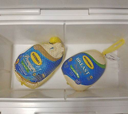 I thawed this Butterball turkey and turkey breast in my Yeti 75 filled with water.
