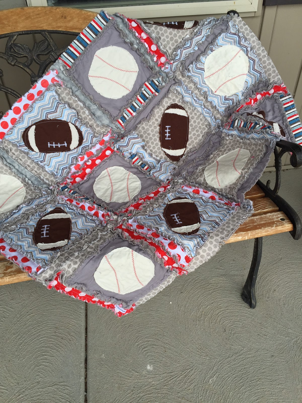 Sports Rag Quilts~ With Baseball and Football Appliques