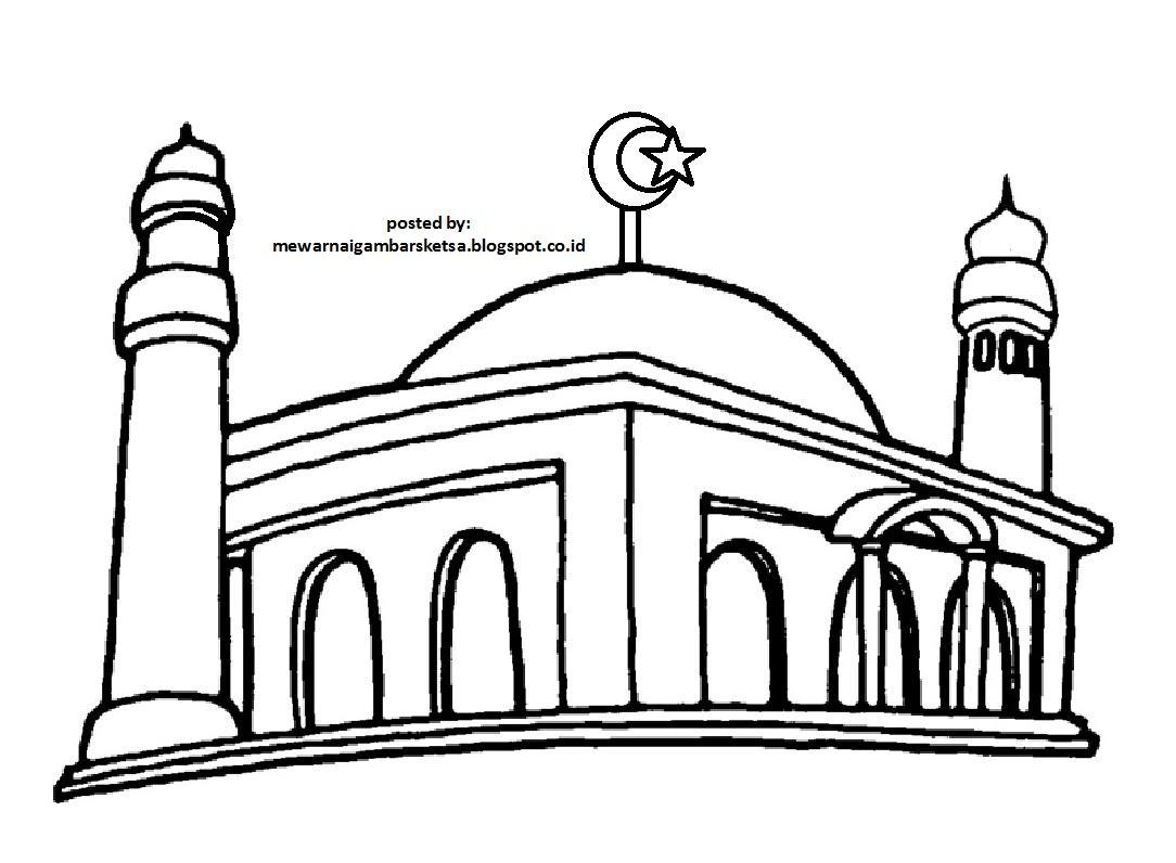 Mewarnai Gambar Sketsa Masjid 2