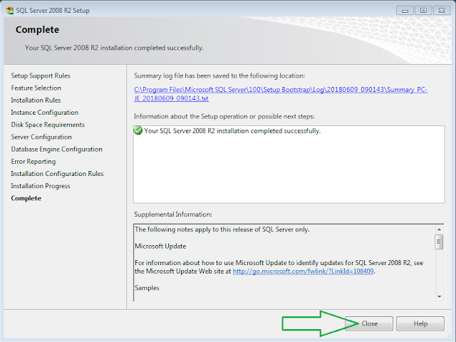 SQL Server 2008 R2 Installation Complete
