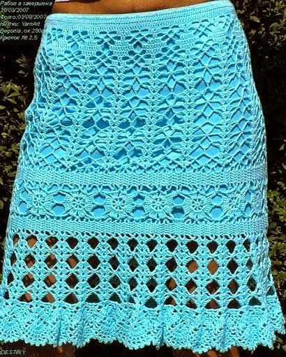 Pollera tejida al crochet con varios puntos