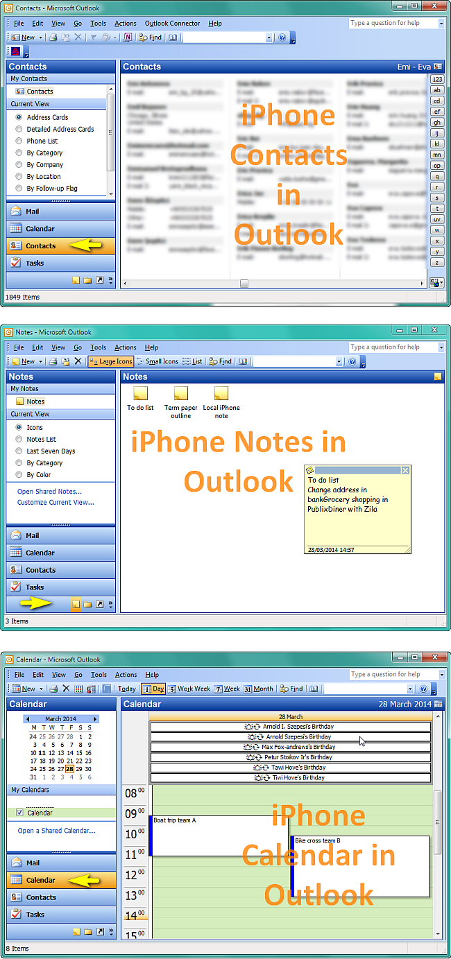 view shared outlook calendar on iphone iphone contacts how to export iphone contacts notes and 19525