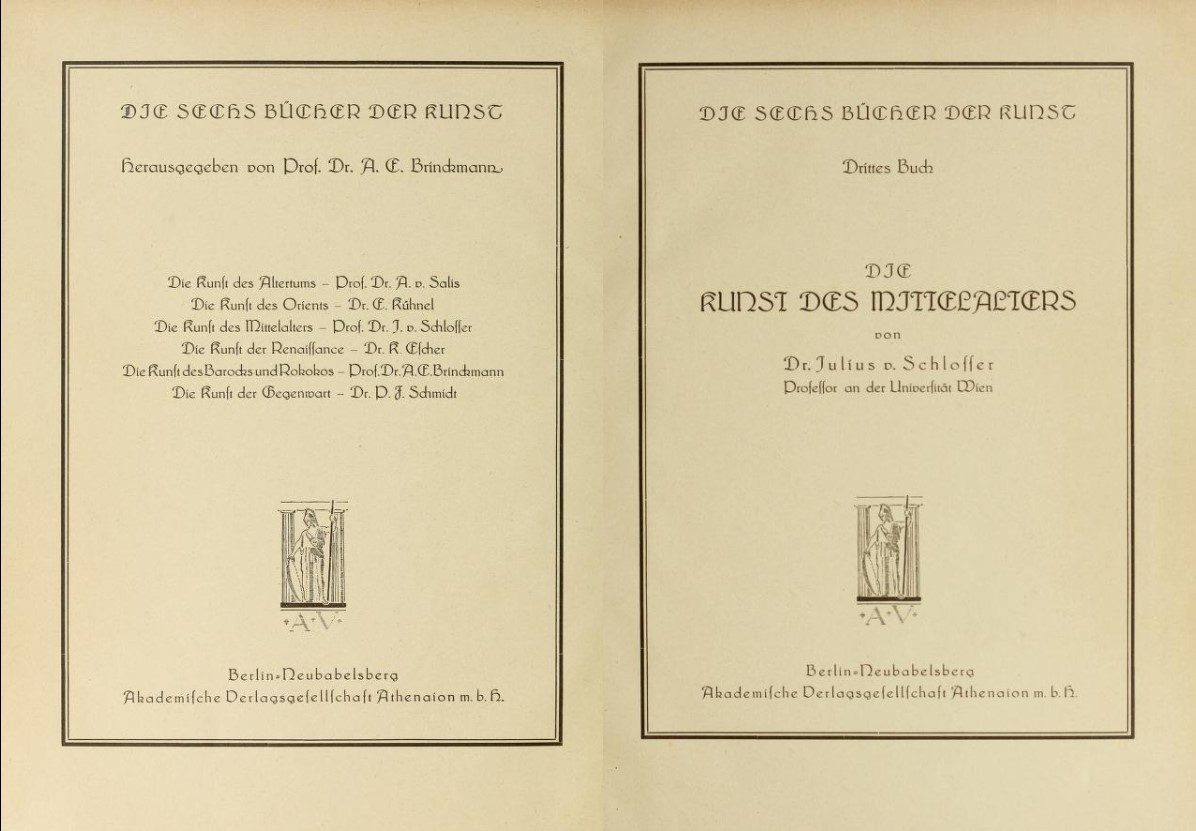 a931cac44342f 3) Frontispiece and cover of the original edition of The Art of the Middle  Ages by Julius von Schlosser, published in 1923. On the left, the list of  the six ...