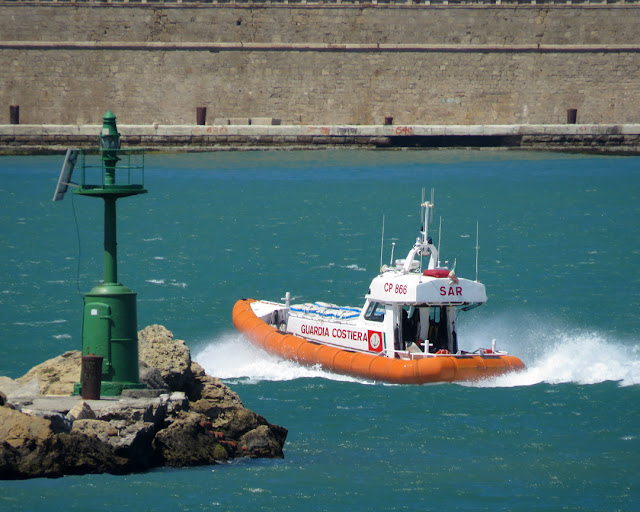 Search and Rescue patrol boat CP 866 leaving the Porto Mediceo, Livorno