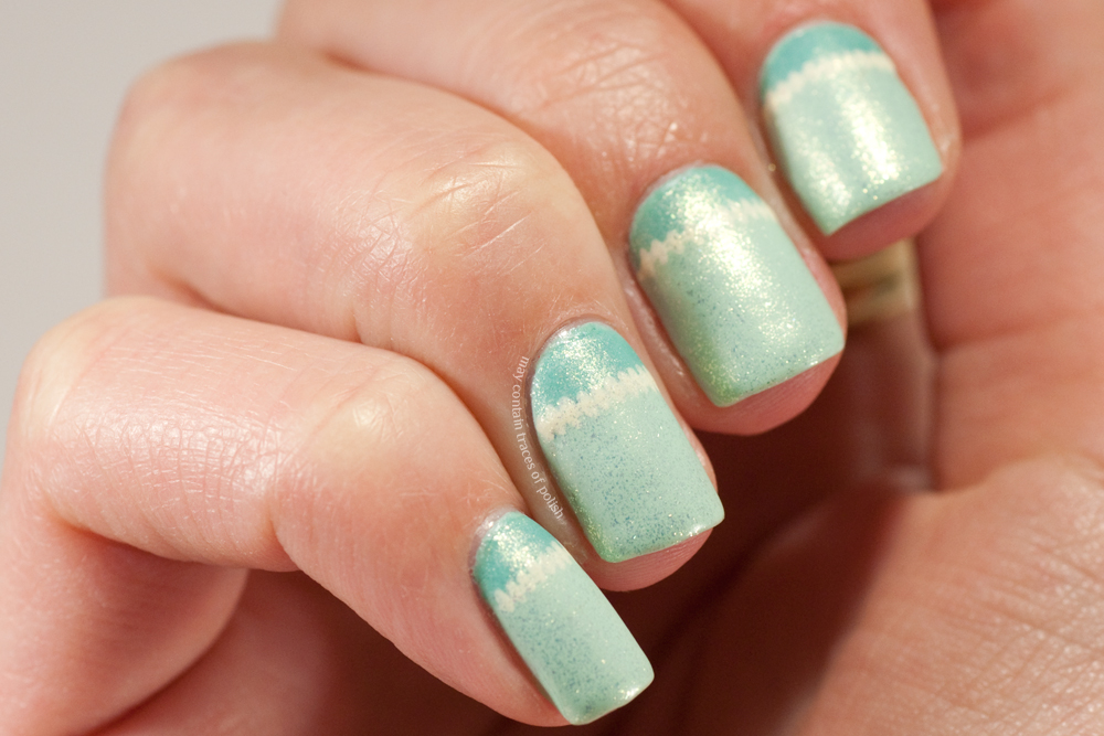 Great nail art ideas mint green may contain traces of polish polishes used julie g gelato in venice julie g sharks cove china glaze white cap and barry m matte top coat stitches painted with off white acrylic prinsesfo Gallery