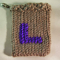 Knitted L, Monogrammed L, gift card holder