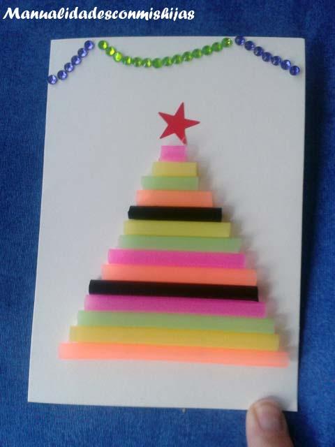 Tarjeta pino navidad con pajitas