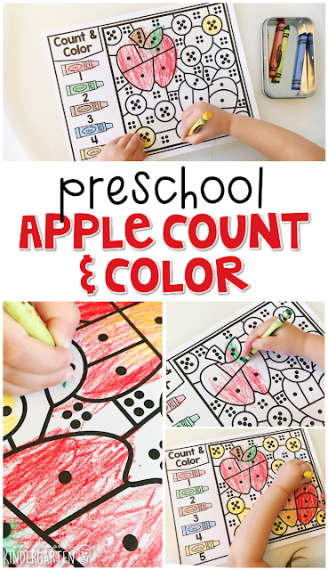 This apple count & color activity is fun for number sense and fine motor practice with an apple theme. Great for tot school, preschool, or even kindergarten!