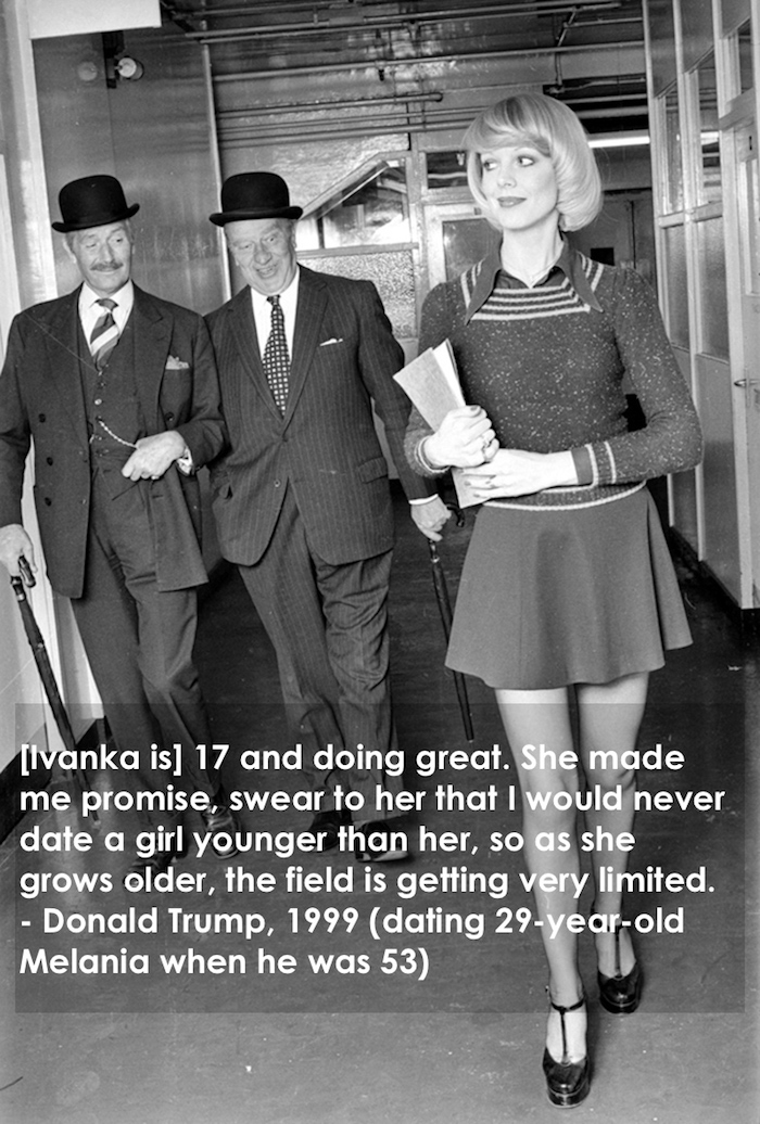 Old men leering at woman in mini skirt circa 1970s Donald Trump quote about women Trump quote can't date anyone younger than Ivanka